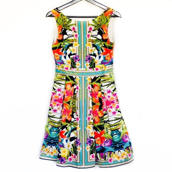 352991dd3d Maggy London Dresses   Tropical Fit Flare Dress Sz 4   Poshmark